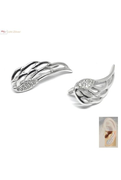 Zilveren engelen vleugels oor line ear cuff oorbellen