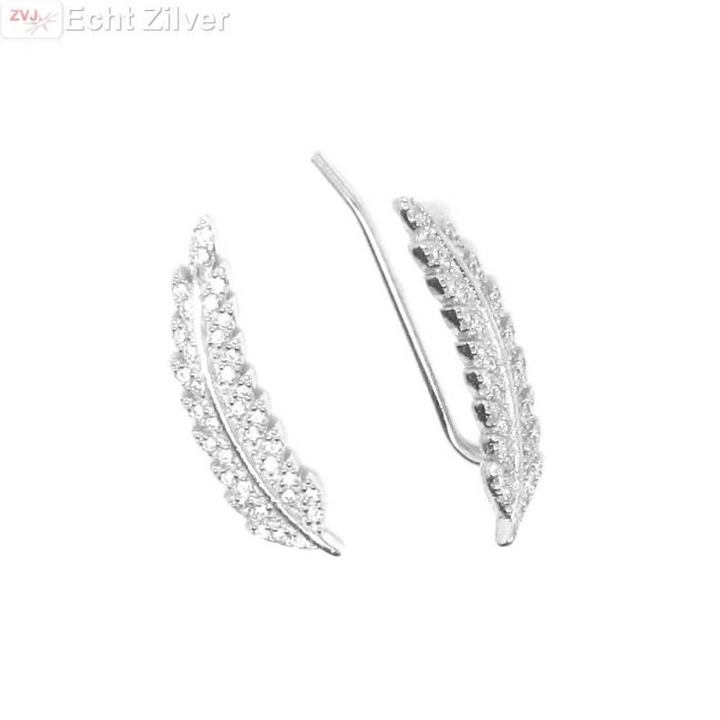 Zilveren blad, leaf ear cuff pins oor schuifjes-1