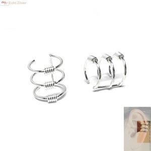 ZilverVoorJou Zilveren Keltische drie lijnen ear cuff oorklem set