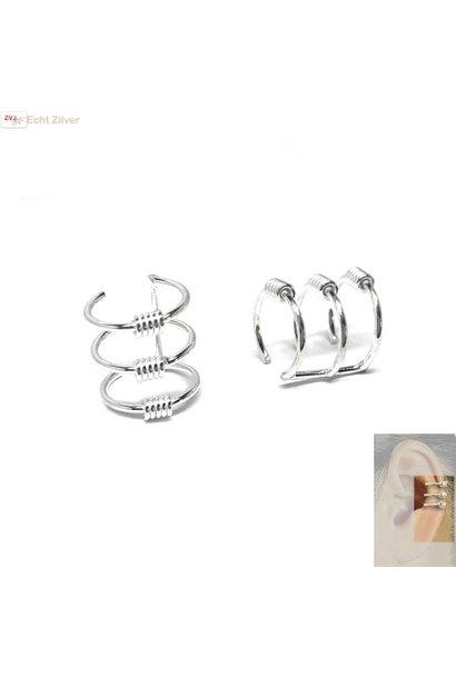 Zilveren Keltische drie lijnen ear cuff oorklem set