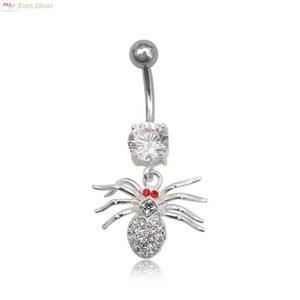 ZilverVoorJou OUTLET navelpiercing spin rood wit zirkoon