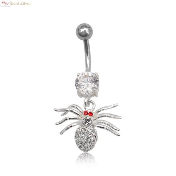 OUTLET navelpiercing spin rood wit zirkoon