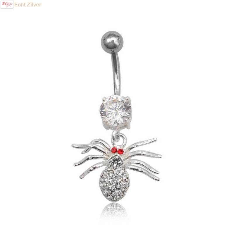 OUTLET navelpiercing spin rood wit zirkoon-1