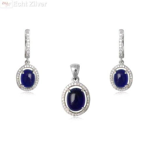 ZilverVoorJou Zilveren saffier blauwe bridal bruids set