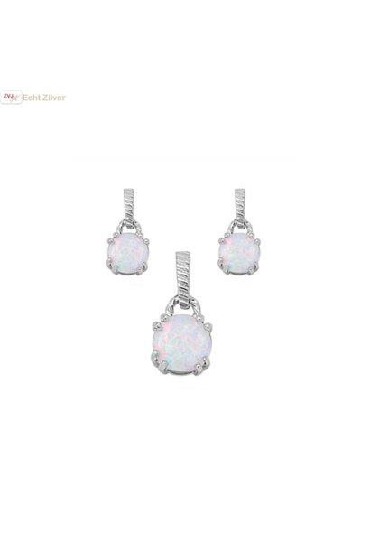 Zilveren witte opaal zirkonia set