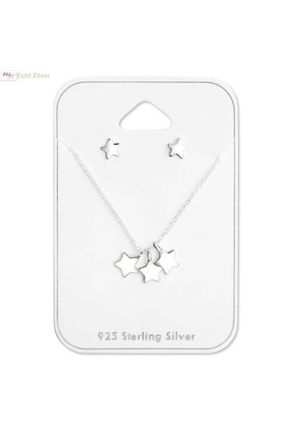 Zilveren 3 sterretjes ketting met mini ster oorstekers set