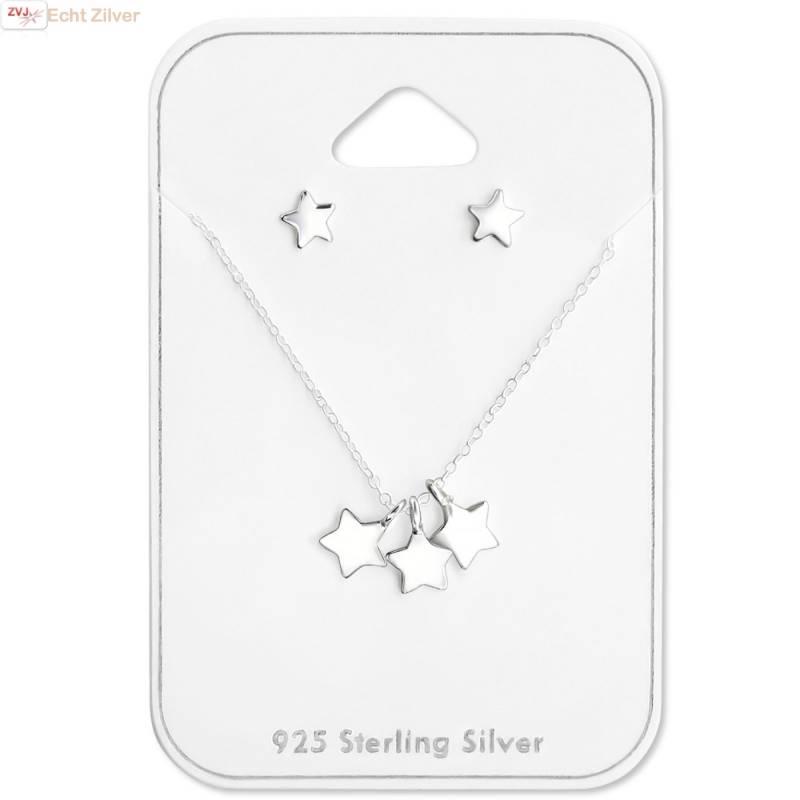 Zilveren 3 sterretjes ketting met mini ster oorstekers set-1