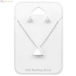 ZilverVoorJou Zilveren mini triangel driehoek set ketting met oorstekers