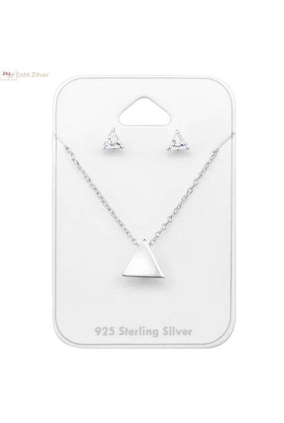 Zilveren mini triangel driehoek set ketting met oorstekers