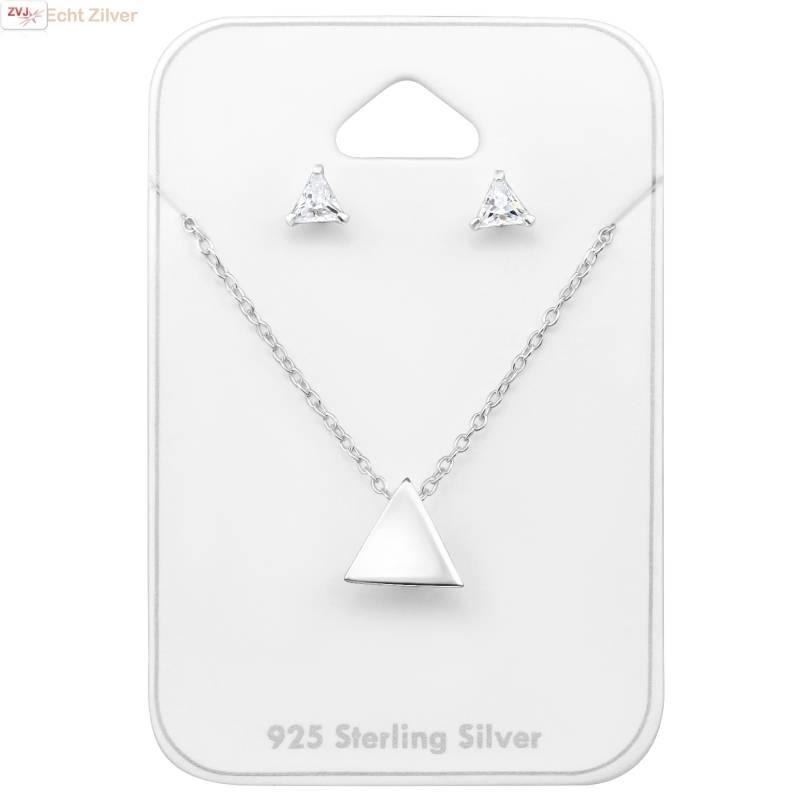 Zilveren mini triangel driehoek set ketting met oorstekers-1