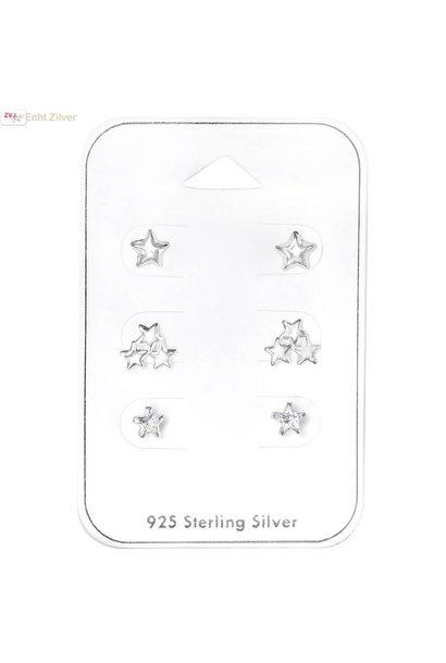 Zilveren mini Ster oorknopjes  set van 3