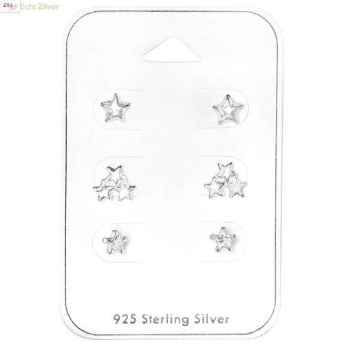 ZilverVoorJou Zilveren mini Ster oorknopjes  set van 3