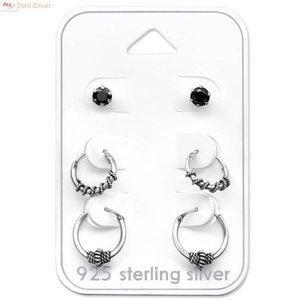 ZilverVoorJou Zilveren set Keltische creolen en zwarte zirkoon oorsteker