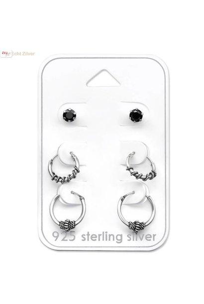 Zilveren set Keltische creolen en zwarte zirkoon oorsteker