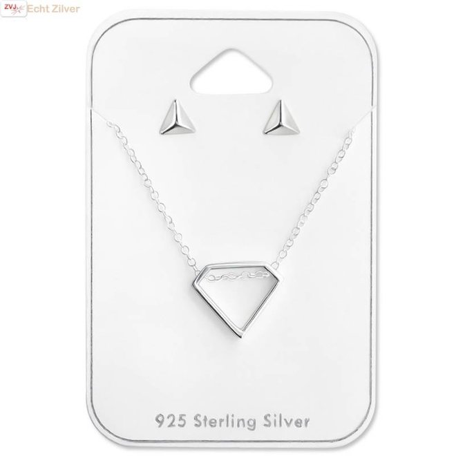 Zilveren geometrische set ketting en oorbellen