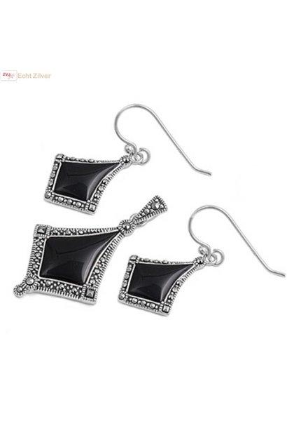 Zilveren marcasiet zwarte onyx set