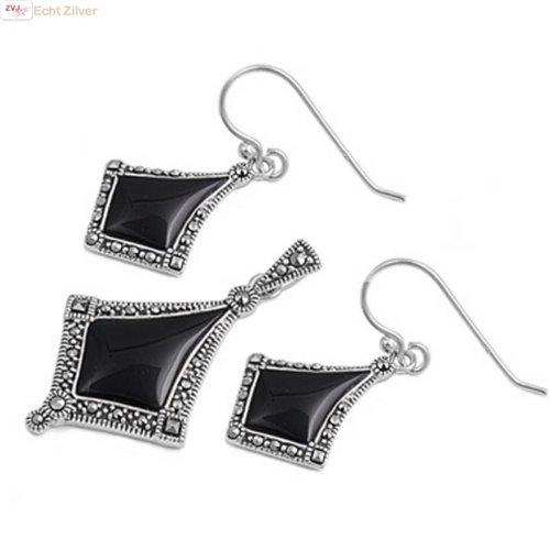 ZilverVoorJou Zilveren marcasiet zwarte onyx set