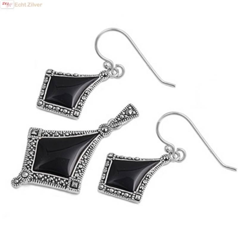 Zilveren marcasiet zwarte onyx set-1