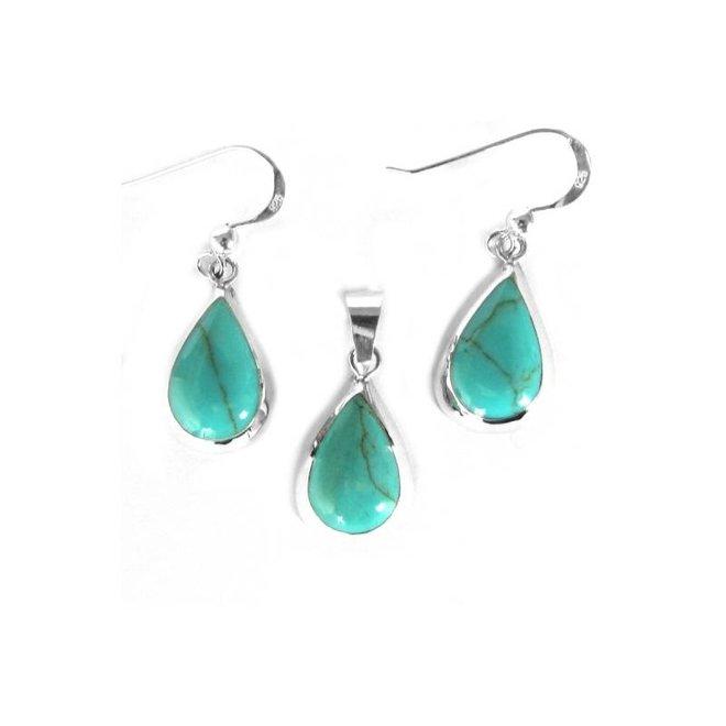 Zilveren druppel set hanger + oorbellen turkoois groen