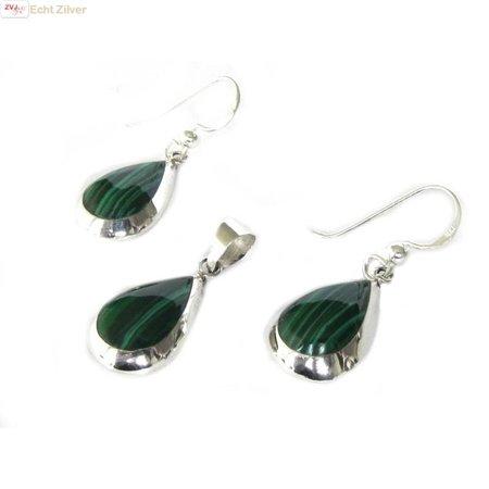 ZilverVoorJou Echt 925 zilveren druppel set hanger + oorbellen malachiet groen