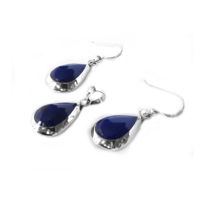 Zilveren druppel set hanger oorbellen lapis lazuli blauw-1