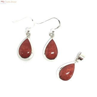 ZilverVoorJou Echt 925 zilveren druppel set hanger + oorbellen koraal rood