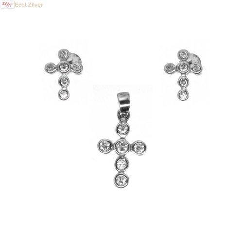ZilverVoorJou OUTLET Zilveren rhodium kruis set oorstekers en hanger