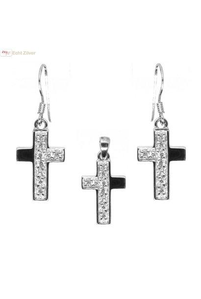 OUTLET Zilveren rhodium kruis set oorhangers en hanger