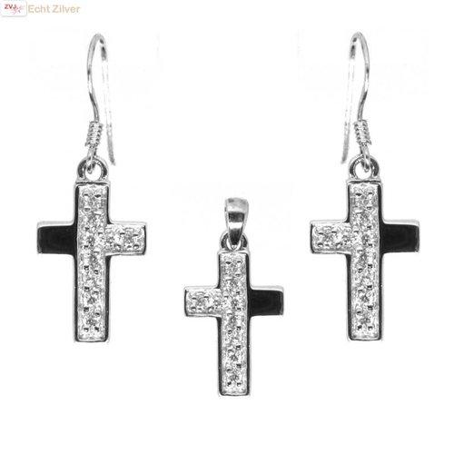 ZilverVoorJou OUTLET Zilveren rhodium kruis set oorhangers en hanger