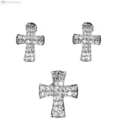 ZilverVoorJou OUTLET Zilveren Set kruis oorstekers kettinghanger rhodium