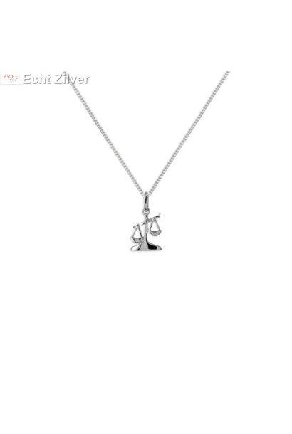 Zilveren sterrenbeeld collier weegschaal