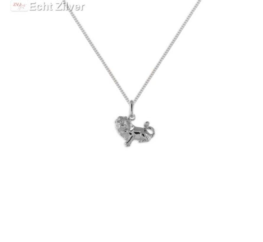 Zilveren sterrenbeeld collier leeuw