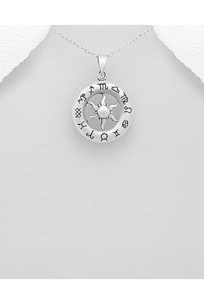 Zilveren zodiac kettinghanger