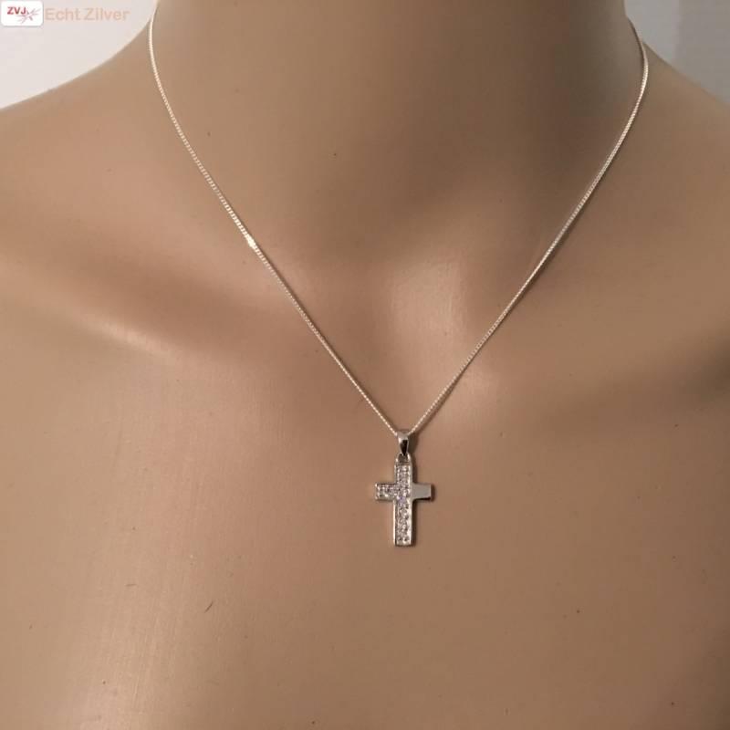 OUTLET Zilveren rhodium kruis set oorhangers en hanger-2