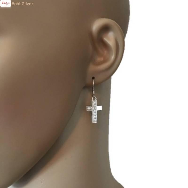 OUTLET Zilveren rhodium kruis set oorhangers en hanger-3