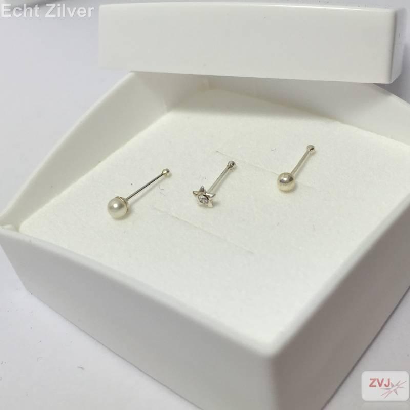 OUTLET zilveren neuspiercing set van 3 met parel en zirkonia-2