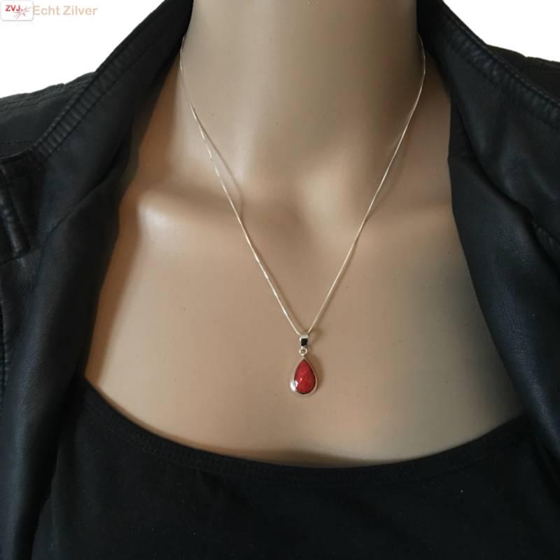 Echt 925 zilveren druppel set hanger + oorbellen koraal rood-2