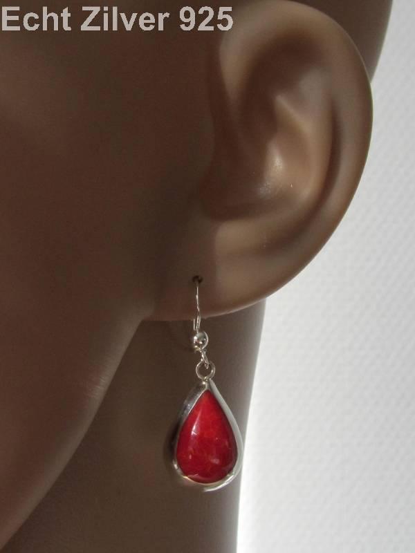 Echt 925 zilveren druppel set hanger + oorbellen koraal rood-3