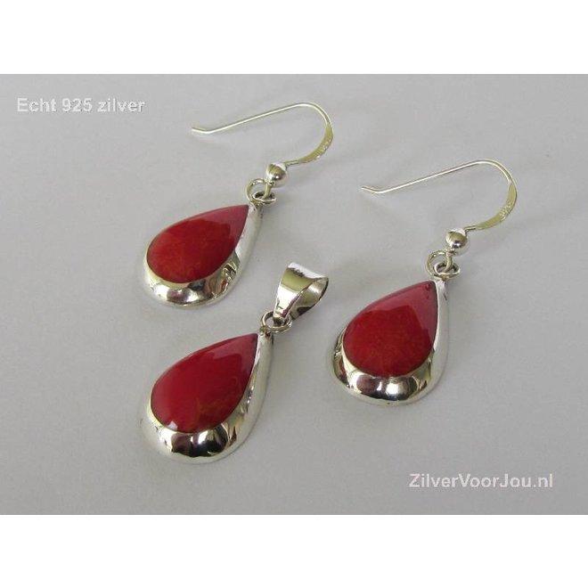Echt 925 zilveren druppel set hanger + oorbellen koraal rood