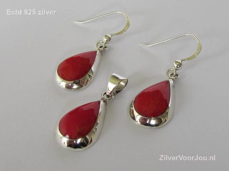 Echt 925 zilveren druppel set hanger + oorbellen koraal rood-4
