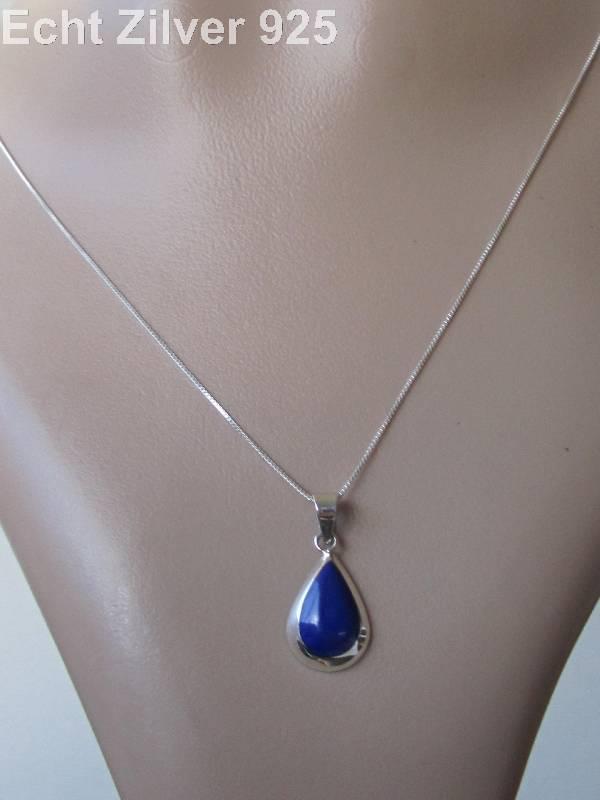 Zilveren druppel set hanger oorbellen lapis lazuli blauw-2