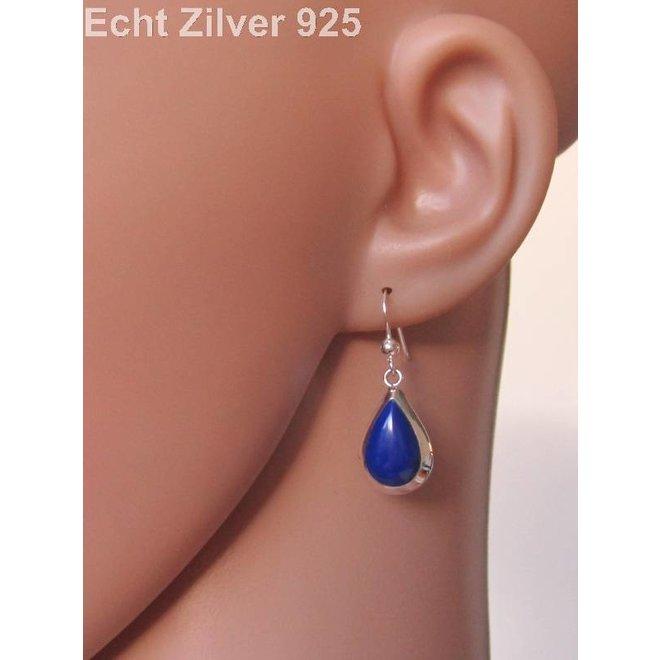 Zilveren druppel set hanger oorbellen lapis lazuli blauw