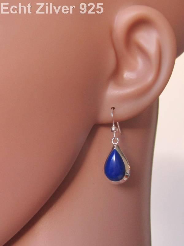 Zilveren druppel set hanger oorbellen lapis lazuli blauw-3