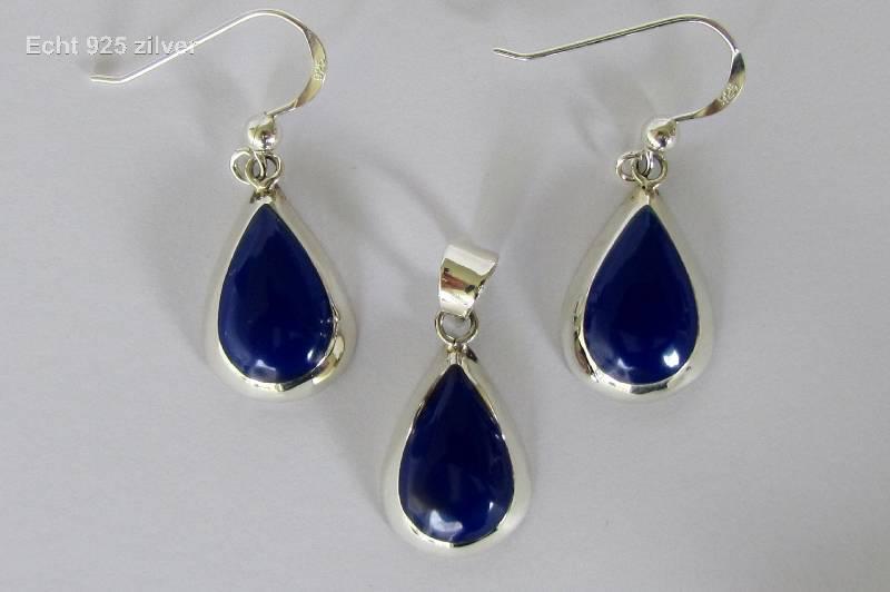 Zilveren druppel set hanger oorbellen lapis lazuli blauw-4