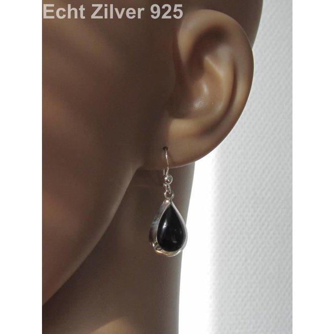 Zilveren druppel set hanger + oorbellen onyx zwart