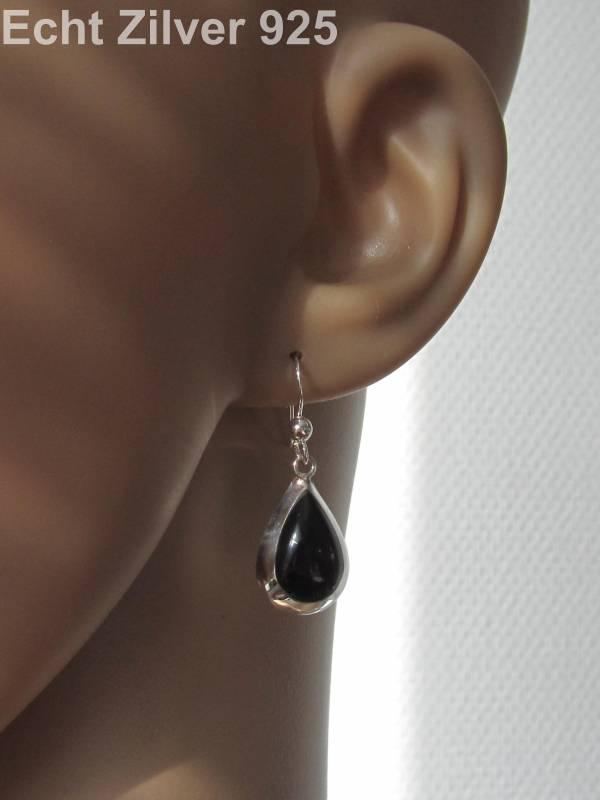 Zilveren druppel set hanger + oorbellen onyx zwart-3