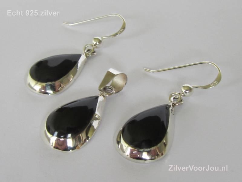 Zilveren druppel set hanger + oorbellen onyx zwart-4