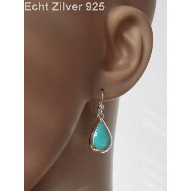 Zilveren 925 druppel set hanger + oorbellen turkoois groen