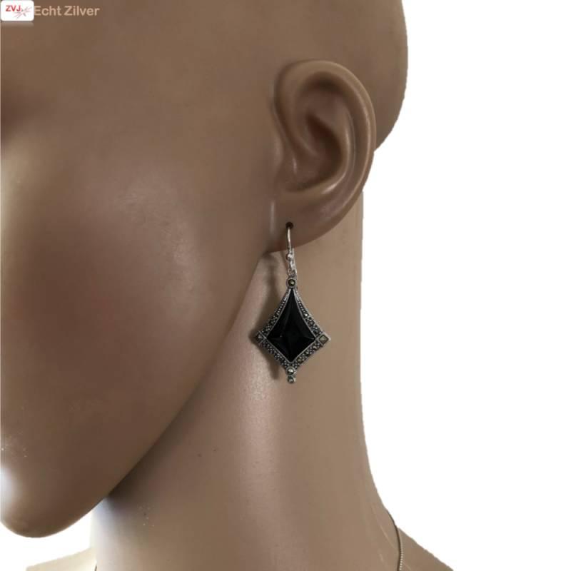 Zilveren marcasiet zwarte onyx set-2