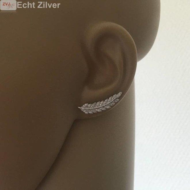 Zilveren blad, leaf ear cuff pins oor schuifjes